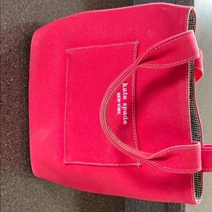 Kate Spade Red Canvas Tote Bag
